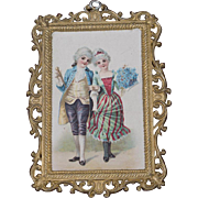 A colorful dollhouse Antique German picture with frame, good condition, 19C, great for french fashion doll's room