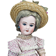 """24"""" (60 cm) Antique French Bisque Bebe Doll by  SFBJ with Pull Crier Strings. size 11"""