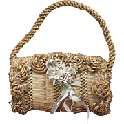 Wonderful Antique French Early Straw Bag for Jumeau Bru Steiner Eden Bebe E.J. Gaultier  doll or large fashion poupee, c.1890