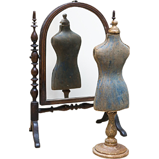 Antique Exquisite Psyche, or Cheval French Wooden Mirror for French Fashion Poupee or Small Bebe Doll