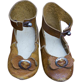 Antique Original French Leather Doll Shoes with rare mark for Jumeau bru Steiner Gaultier and other bebe