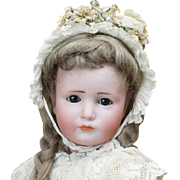 "12""(30 cm.)  Rare Antique German Bisque Art Character Glass-eyed Gretchen doll 114, by Kammer&Reinhardt, nice cabinet size"