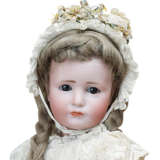 "12""(30 cm.)  Rare Antique German Bisque Art Character Glass-eyed Gretchen doll 114, by Kammer&Reinhardt, nice cabinet size"