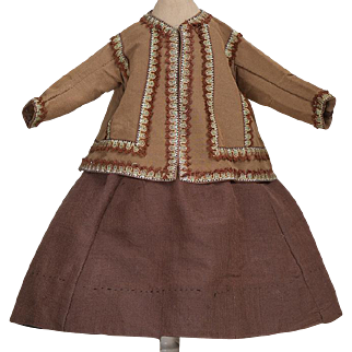 "Antique Original Gown Dress Costume for French Fashion Doll Huret, Rohmer, Gaultier, Jumeau, Bru about  16-17"" (40-43cm)"