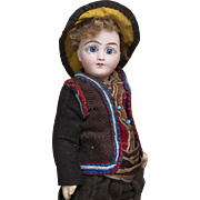 "10"" (25 cm.) Rare Antique French All-Original Tiny Bisque Wide-eyed Bebe Doll G.D. by Henri Delcroix, c.1890"