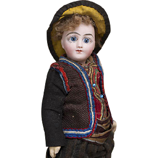 """10"""" (25 cm.) Rare Antique French All-Original Tiny Bisque Wide-eyed Bebe Doll G.D. by Henri Delcroix, c.1890"""