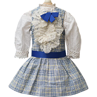 Antique French Original  Blue Linen Checkered Pinafore Dress and Cotton Chemise for Jumeau Bru Steiner Eden bebe or early german doll about 18-19in (46-48 cm).
