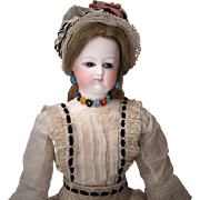 "14"" (36 cm) tall.  Very Rare Antique French Bisque Poupee Fashion doll by Brasseur-Videlier with wonderful antique dress"
