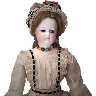"""14"""" (36 cm) tall.  Very Rare Antique French Bisque Poupee Fashion doll by Brasseur-Videlier with wonderful antique dress"""