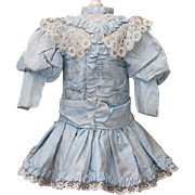 "Antique Original Aqua Silk Dress for French Doll Jumeau, Steiner, Gaultier, Bru, Eden bebe about  18-19"" (45-48 cm)."
