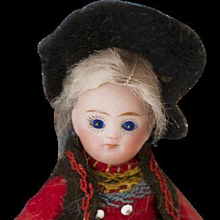"4"" (10 cm) Antique French All-Bisque Mignonette in Original Folklore Costume"