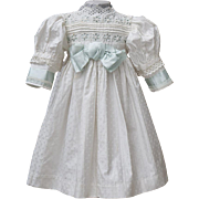 "Antique French Original Cotton&Silk White Dress for Jumeau Bru Steiner E.J. Eden Bebe doll about 26"" (65 cm)"