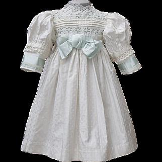 "Antique French Original Cotton&Silk White Dress for Jumeau Bru Steiner E.J. Eden Bebe doll about 26"" (65 cm)"