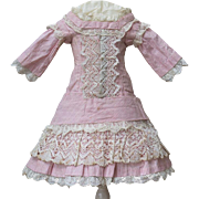 "Antique French Original Pale Pink Muslin Dress for Jumeau bru Steiner E.J. Bru Eden bebe doll about 17-18"" tall (43-45 cm)"