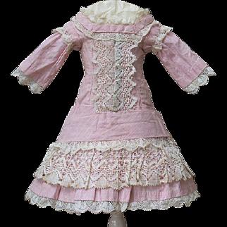 "Antique French Original Pale Pink Muslin Dress for Jumeau bru Steiner E.J. Bru Eden bebe doll about 17-18"" tall (43-45 cm)"