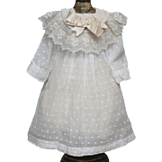 "Antique Original White Batiste Dress and Chemise for Jumeau Bru Steiner Eden bebe doll about 19-20"" tall"