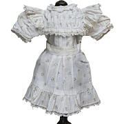 Wonderful Antique Original Bebe Jumeau cotton printed flowered factory dress /presentation chemise,  c.1890