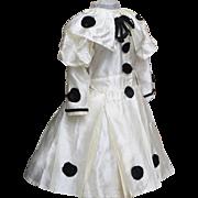 "Antique Original Fancy Silk Pierrot Dress for Jumeau bru Steiner Eden Bebe or early german doll about 25-26"" tall (63-65 cm)"