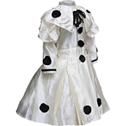 "Antique Original Fancy Silk Pierrot Dress for Jumeau bru Steiner Eden Bebe or early german doll about 25-26"" tall (63-65 cm)"