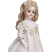 "12 1/2"" (32 cm) Antique Early French Bisque Kid-Bodied bebe by F.G. Faultier, block letters mark, c.1880"