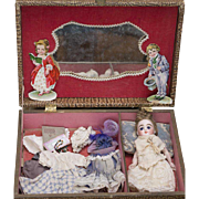 "7"" (18 cm) Antique German All Bisque Kestner Mignonette Doll Doll in Presentation Set with Trousseau"