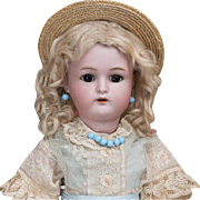 """15"""" (39 cm.)  Antique German Bisque Cabinet Size Child Doll by Kammer and Reinhardt with Original Wig and antique costume"""