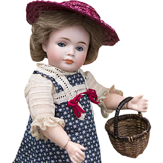 """9"""" Very Rare Antique German Bisque Character WENDY Doll 2033 by Bruno Schmidt +her trunk"""