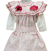 "Antique French Original Pinafore Dress for Jumeau Bru Steiner Eden Bebe or early german doll 22-23"" tall"