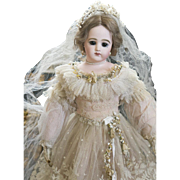 "18"" (46 cm.) Antique French Fashion Early Poupee Doll by Jumeau with dramatic large eyes, in beautiful wedding gown, c.1880"