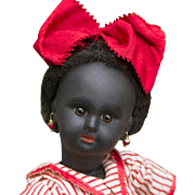 "10"" (25 cm) Very Rare French Black Complexioned Paris Bebe Doll by Danel & Cie, size 1, wooden body, c.1889."