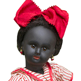 """10"""" (25 cm) Very Rare French Black Complexioned Paris Bebe Doll by Danel & Cie, size 1, wooden body, c.1889."""