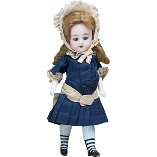 "7 1/2"" (19 cm) Antique German Large Simon Halbig Swivel-Neck All-Bisque Girl Doll 886 in Original dress, c.1890"