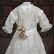 "Antique French Original  Batiste Dress and Chemise for Jumeau Bru Steiner  Gaultier Eden Bebe or Early German doll about 25-26"" tall (62-65 cm), c.1890"