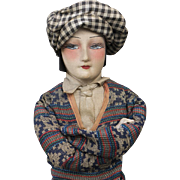 "26"" (66 cm) Rare Antique French All Original Golfer Boudoir Salon doll from Art Deco Era"