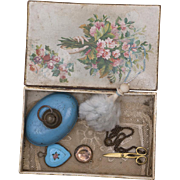 Antique French Original Set Accessories with box for Fashion doll Jumeau Bru Rohmer Huret Gaultier