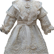 """Antique Original Cotton & Tulle Lace Dress for Jumeau Bru Steiner Bebe or German Doll about  26-27"""" tall"""