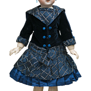 """Very beautiful antique silk & velvet dress for Jumeau bru Steiner Eden bebe Gaultier  or other french doll about 25-26"""" tall (63-66 cm)"""