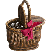 Antique Original French Wicker Picnic Basket for fashion doll or small bebe