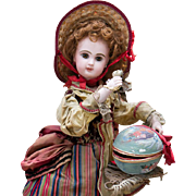 "19"" (48 cm) Rare and Beautiful All-Original Antique  French Automaton by Lambert - Bisque Jumeau Bebe  Doll with Egg and Surprise, c.1890"