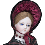 "13"" (33 cm) French Bisque Poupee Fashion doll with Bisque Hands from maison Simonne, Marked, c.1865."