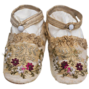 Antique Original French Silk Embroidered Slippers For Large Doll or Child, c.1850, Museum piece!