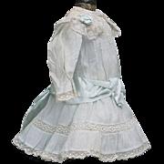 "Antique Original Aqua Batiste Dress and Slip for Jumeau Bru Steiner Gaultier Eden Bebe or German doll about 17-18"" (43-46cm)  tall"