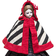 Very beautiful Antique Original Early French Stripped Wool Cape with Hood for fashion doll, c.1860