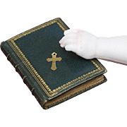 Antique French Miniature Prayer Book dated 1897 and a tiny cross, for French Fashion doll Huret, Rohmer, Gaultier, Bru, Jumeau  and other