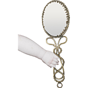 Antique French Hand Mirror for fashion dolls Huret, Jumeau, Rohmer, Bru, Gaultier and other, c.1880