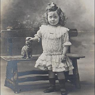 The  Beautiful Girl with  Cat toy - Antique French Original Photo, Paris, Des Grands Magazines du Louvre, c.1880, excellent condition!