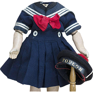 """3 piece Rare Antique French All Original Sailor Mariner Costume Dress Suit with matching hat cap  for tiny bebe about 11-12"""" tall (Bleuette size)"""