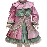 "Two piece Antique French Silk Satin dress / costume for Small Jumeau Bru Steiner other french bebe doll about  11-12"" (28-31 cm) tall"