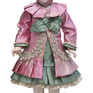 """Two piece Antique French Silk Satin dress / costume for Small Jumeau Bru Steiner other french bebe doll about  11-12"""" (28-31 cm) tall"""