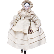 """8"""" (25 cm) Antique All original Early German Porcelain Doll in excellent condition, c.1865"""